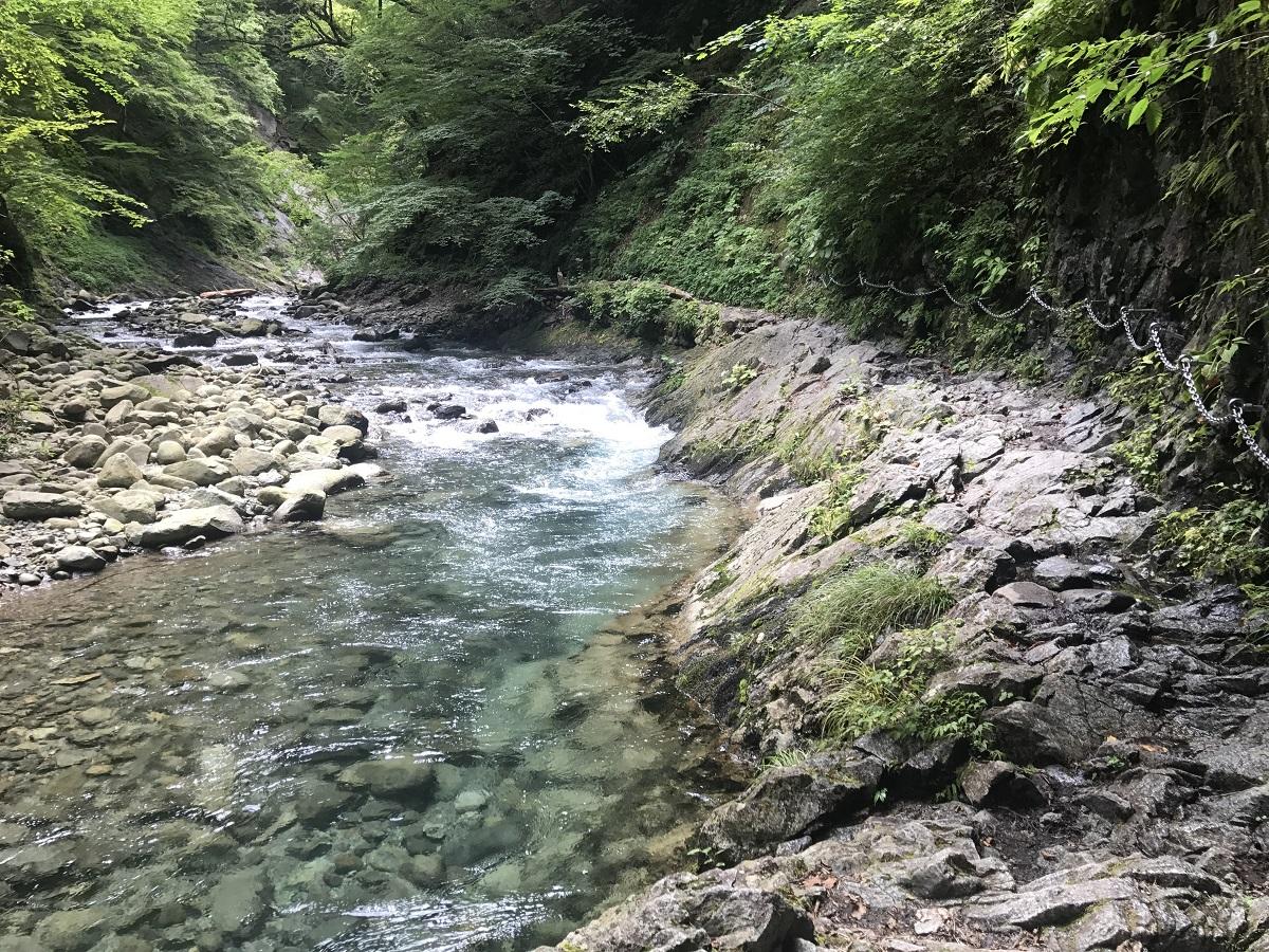 七ツ釜五段の滝へ